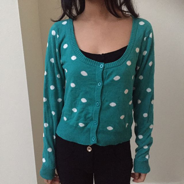Turquoise/White Polka Dot Cardigan Knit Button