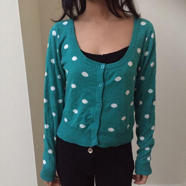 Turquoise/White Polka Dot Cardigan Knit Button