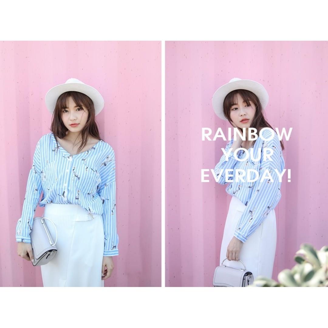 韓版大V領直條丹頂鶴棉麻襯衫(藍)