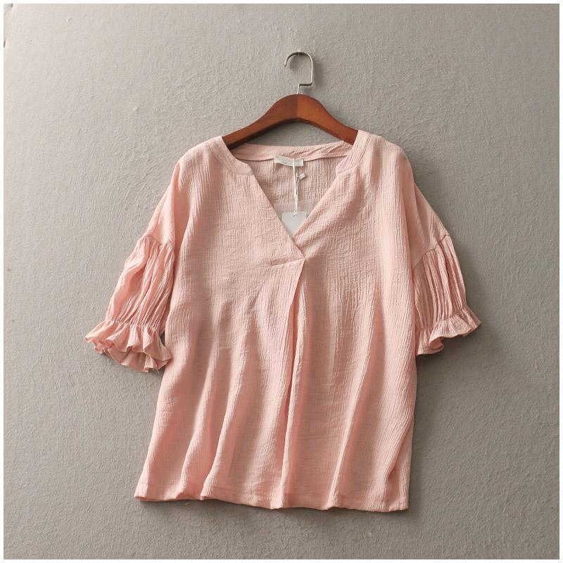 棉麻粉色可愛v領上衣