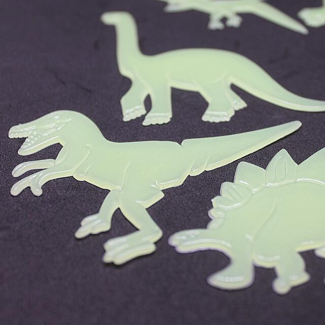 dinosaur stickers - glow-in-the-dark dino wall stickers, babies