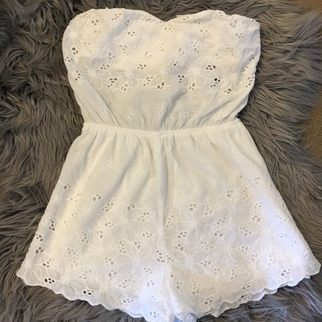 Mia White Crotchet Playsuit
