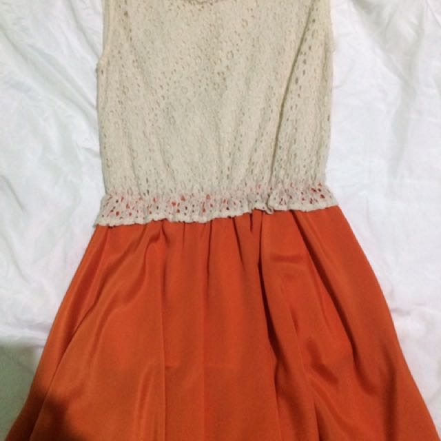 White/Orange Casual Dress