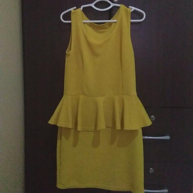 Yellow-Mustard Peplum Dress