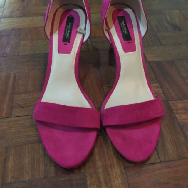 Zara Basic Heels In Fuschia