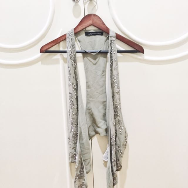 Zara Grey Sequin Vest