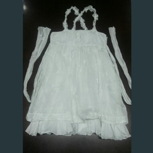 Zara Kids White Cross-back Dress