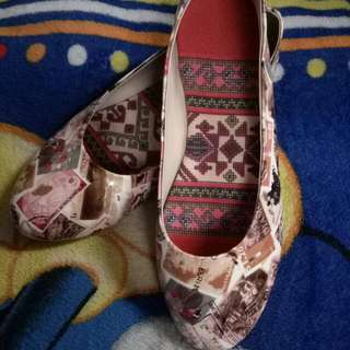 Doll Shoes with Mail Stamp Design