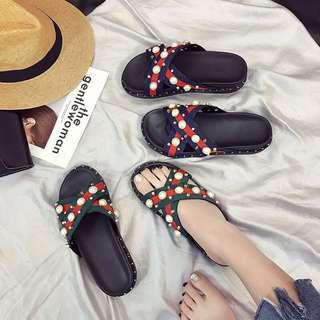韓國代購gucci風格珍珠拖鞋