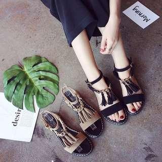 韓國代購質感流蘇涼鞋黑/棕