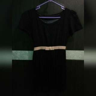 Ribbon Black Mini Dress