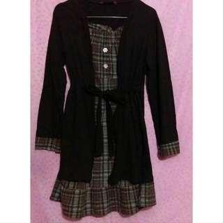 [Preloved] Dress Panjang Coklat Combi Katun Kerut By Sun City Fashion