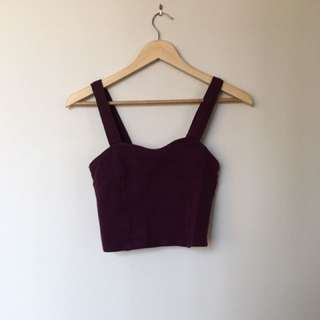Brandy Melville Burgundy Crop Too