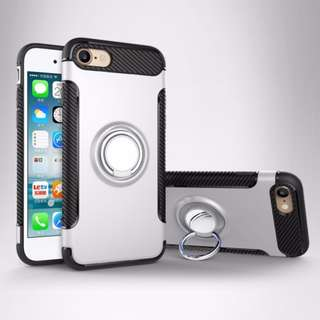 iPhone 7 / 7 Plus Silver Ring Holder Kickstand Protective Shockproof Case Car Mount