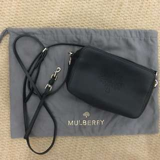 Mulberry Black leather 'Blossom Pochette' cross body bag