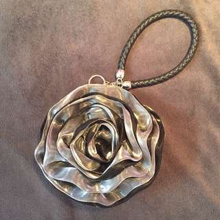 Silver And Black Rose Clutch