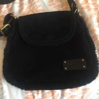 Authentic Ugg Australia Small Black Suede Crossbody