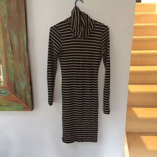 2016 Striped Turtle Neck Dress