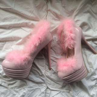 Pink Fluffy Heels