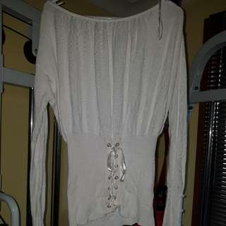 Lace Up Corset Front White Jumper