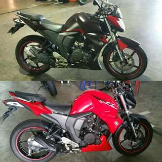 FZ Makeover  Colour: Midnight Black             : Red Effects: Red Pearls Clearcoated With Roberlo Matte Finish  #7Angelz #7Motorsports