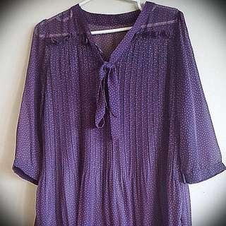 1920's Inspired Purple Dress With Orange Dots