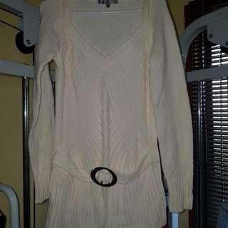 Cream Jumper With Belt & Pattern Detail
