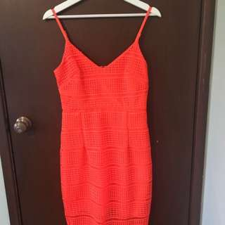 Kookai Orange Crosshatch Dress