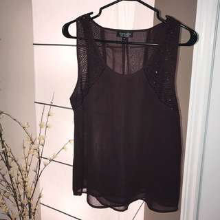 Topshop Dark Burgundy Embellished Top, US size 6 (M)