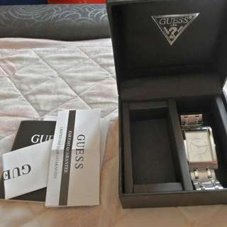 Authentic Guess Midsize Silver Watch With Box And Manual