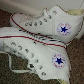 White Converse With Built In Heel