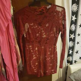 Deep Red Lace Playsuit