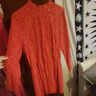 Bright Red Lace Playsuit