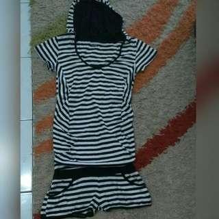 stripe short jumsuit