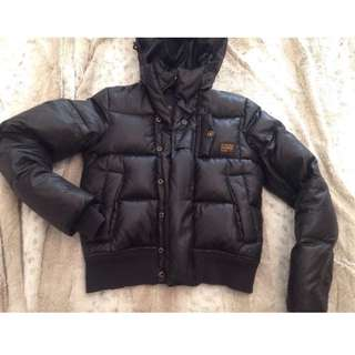 G Star Women's Black Puffer Down Quilted Bomber Jacket