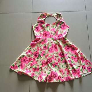 Pink Rose Printed Dress