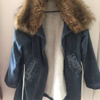 Vintage Denim Faux Fur Warm Jacket