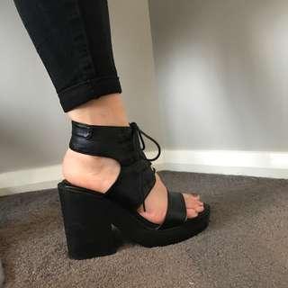 Black platform high heels size 7