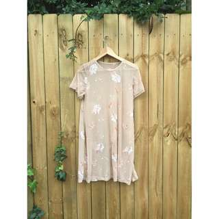 🌸 Pink-Nude Embroidered Sheer Dress