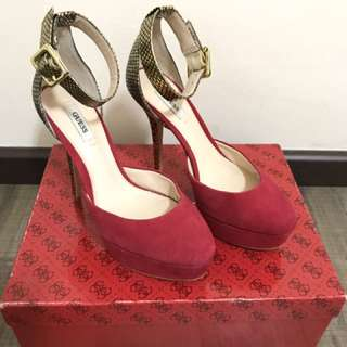 Guess Red Pumps with Gold strap