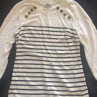H&M Boat Neck Stripe Top