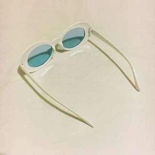 Kurt Cobain White Sunglasses with Baby Blue Tint Lenses