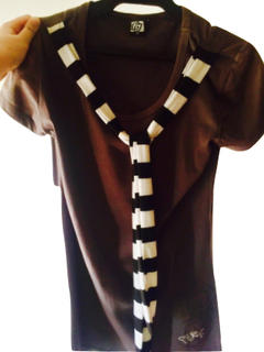 T shirt with black and white necktie