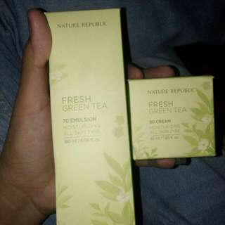 Nature republic fresh greentea 70 emulsion nature republic frseh  greentea 80 cream