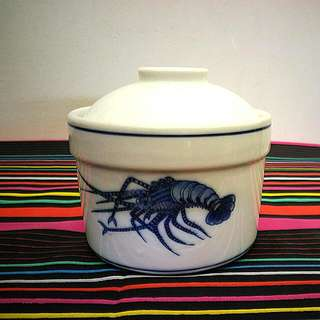 #China Blue Prawn Bowl With Lid