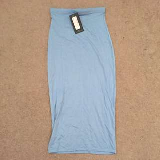 Pretty Little Thing Size 6 Baby Blue Maxi Skirt