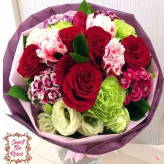 """Can't Help Falling in Love"" -  Red Roses, Carnations, Dianthus, Eustoma and Ruscus Leaf Designer Bouquet w/ FREE DELIVERY in Klang Valley"
