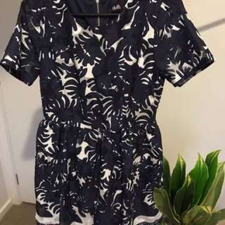 Dotti Size Small Navy And White Dresd