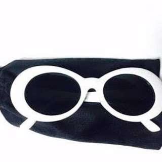 Vintage 90s kurt Cobain White Round Sunglasses
