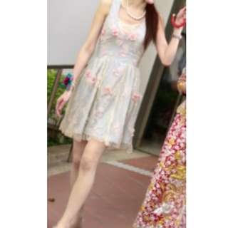 超美 甜美 仙氣 立體花 連身裙 晚裝裙 晚禮裙 伴娘裙 結婚 晚裝 湖水藍 淺藍